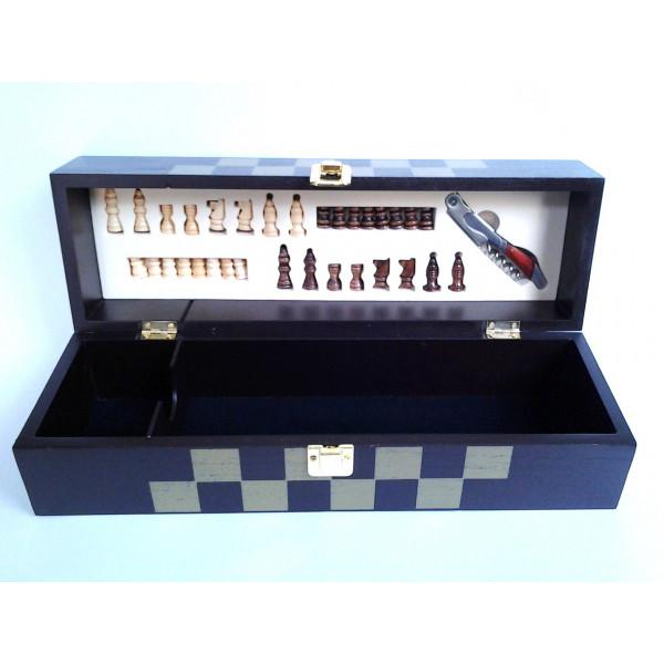 krabica na víno so šachovnicou 12 x 13 x 38 cm