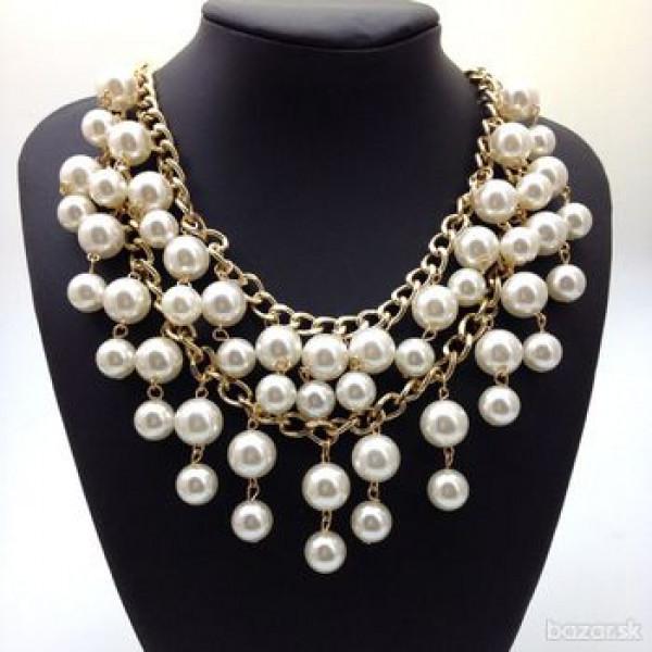 perlový náhrdelník dvojradový 45 cm JoL00055
