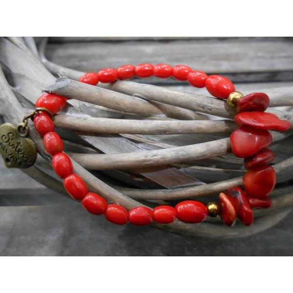 náramok korál a červené korálky
