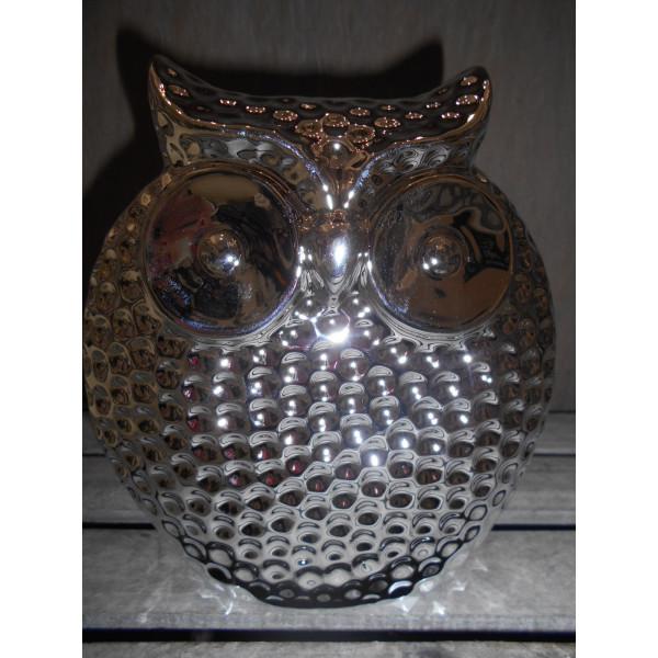 porcelánová sova strieborná 16x15 cm