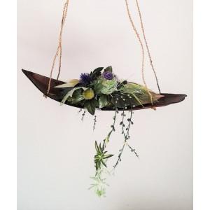 závesná kvetinová dekorácia fialová 60 x 30 x 80 cm