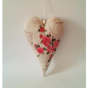 dekoračné veľké srdce s ružami 20 x 30 cm