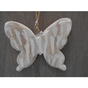 drevený motýl závesný 11x14 cm