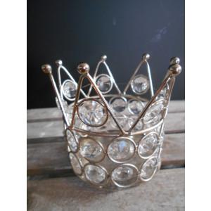kovový svietnik s kamienkami 9,5x9,5 cm
