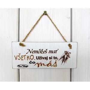 drevená tabuľka s nápisom užívaj si.. 8 x 18 cm