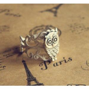 strieborný prsteň so sovou nastaviteľný